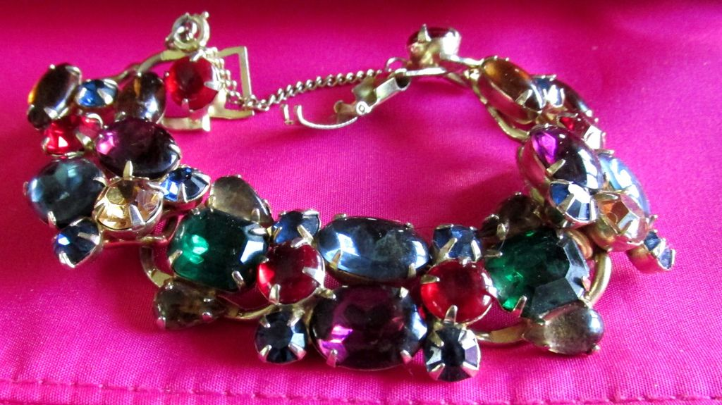Vintage Weiss Bracelet Multi Colored Stones