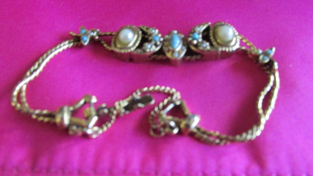 Vintage Delicate Slide Bracelet 5 Slides Goldette