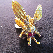 Vintage Trembler Fly Pin Brooch