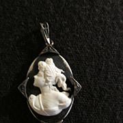 Sterling Silver Cameo Vintage Black & Whitet