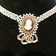 Vintage Beaded Cameo Necklace