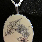 Vintage Sterling Scrimshaw Necklace Floral
