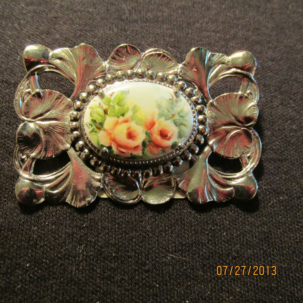 Vintage Floral Painted Porcelain Silver Tone Pin Brooch