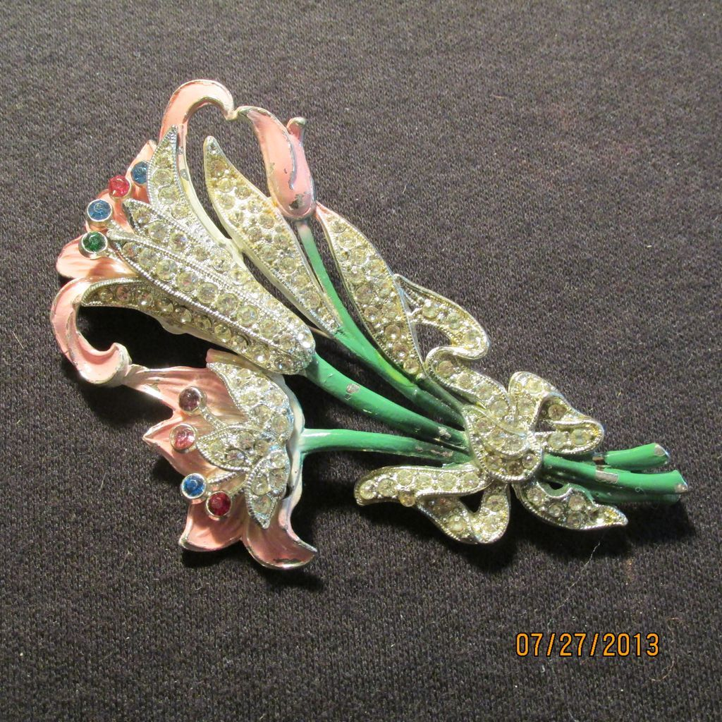 Vintage Large Floral Bouquet Rhinestones and Enamel Pin Brooch