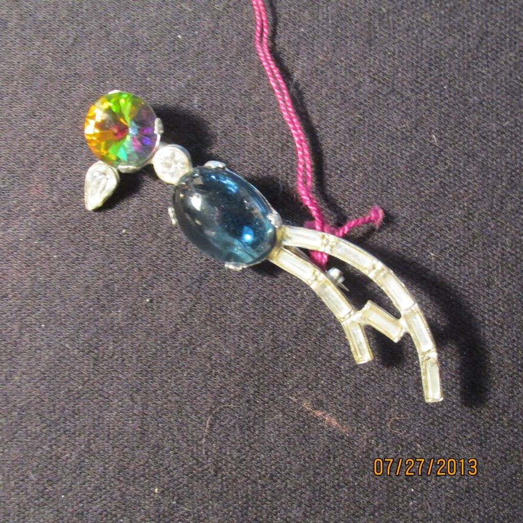 Vintage Bird Pin Multi Color Stones