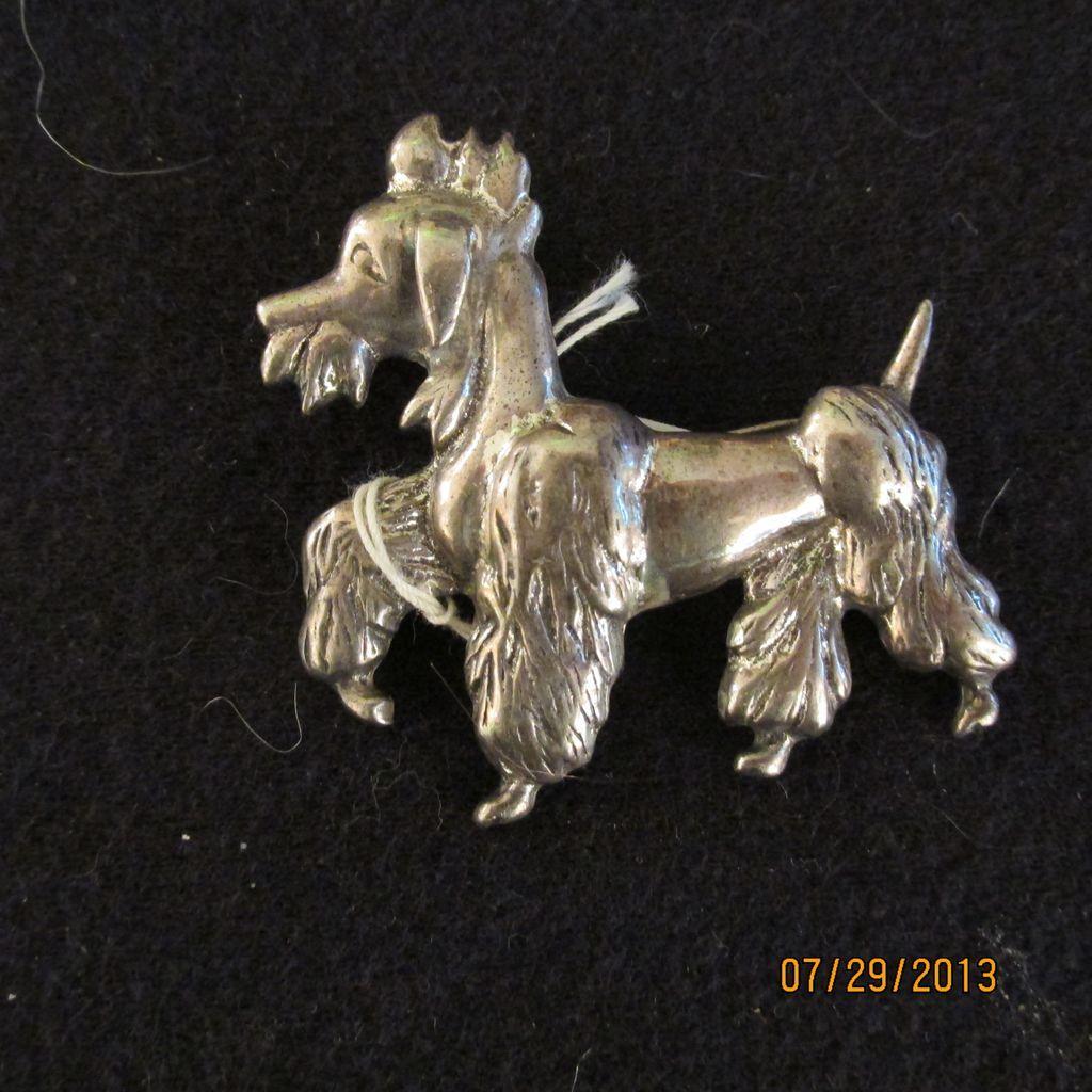 Vintage Sterling Silver Mutant Goat Poodle Pin Brooch