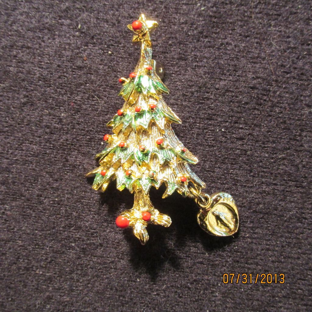 Vintage christmas tree pin brooch religious from nolimit on ruby lane