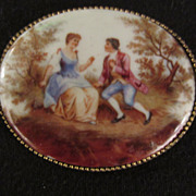 Vintage Victorian Style  Couple Portrait Brooch