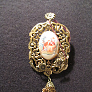 Vintage Portrait Pin Wedding Proposal Ornate Bezel