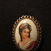 Limoges France Lady Portrait Pin