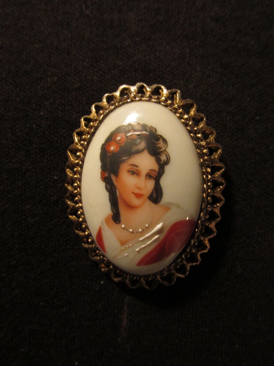 Limoges France Lady Portrait Pin
