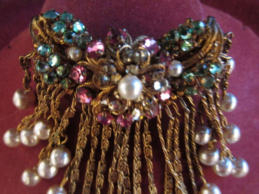 Vintage Miriam Haskell Brooch Pin w/ Hanging Design