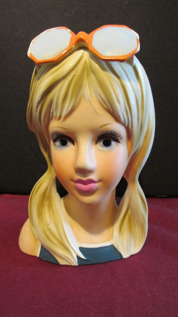 Sun Glass Girl Head Vase Rare Sold On Ruby Lane