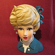 "Napcoware Lady Head Vase 7"" Blue"