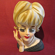 "Enesco 7"" Lady Head Vase with Arm SS"