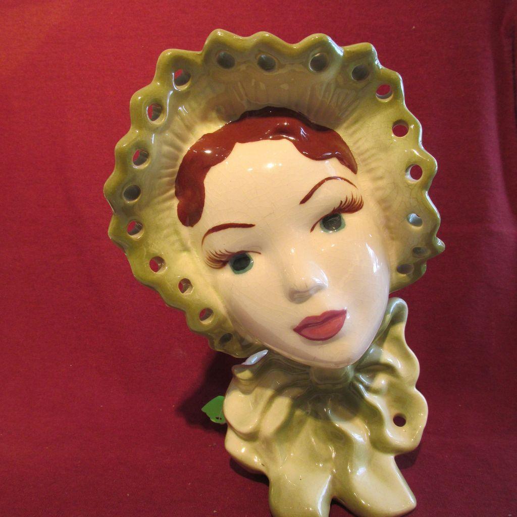 "Lady Head Vase 9"" Planter California Pottery"