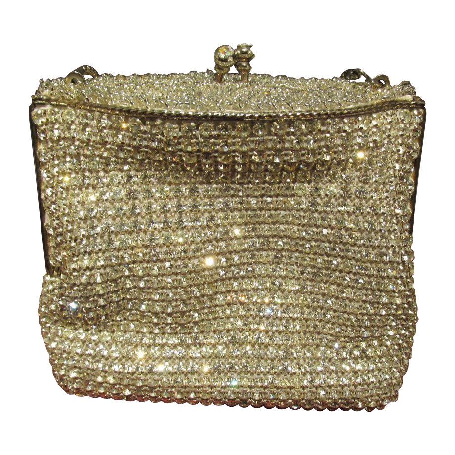Vintage Rhinestone Evening Purse Handbag Very Ornate