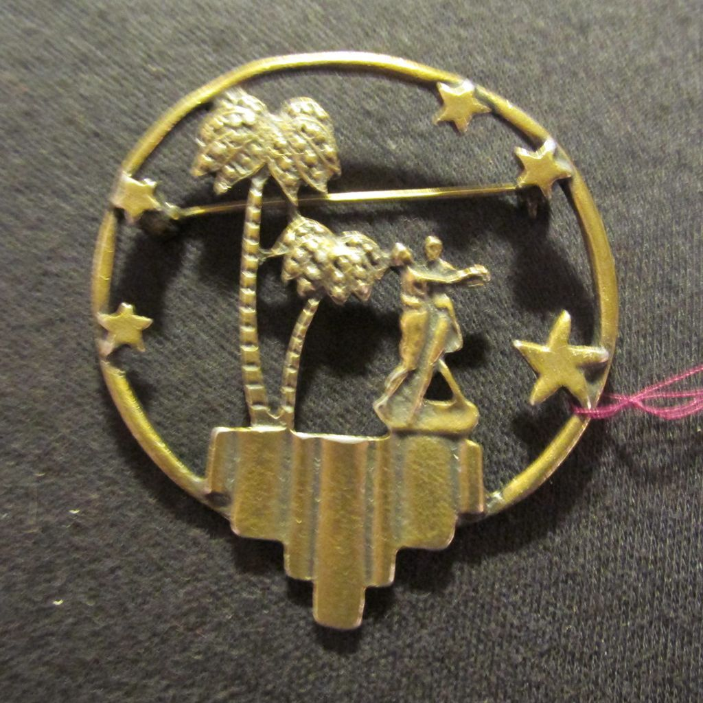 Silhouette Metal Brooch Dancing Under The Stars