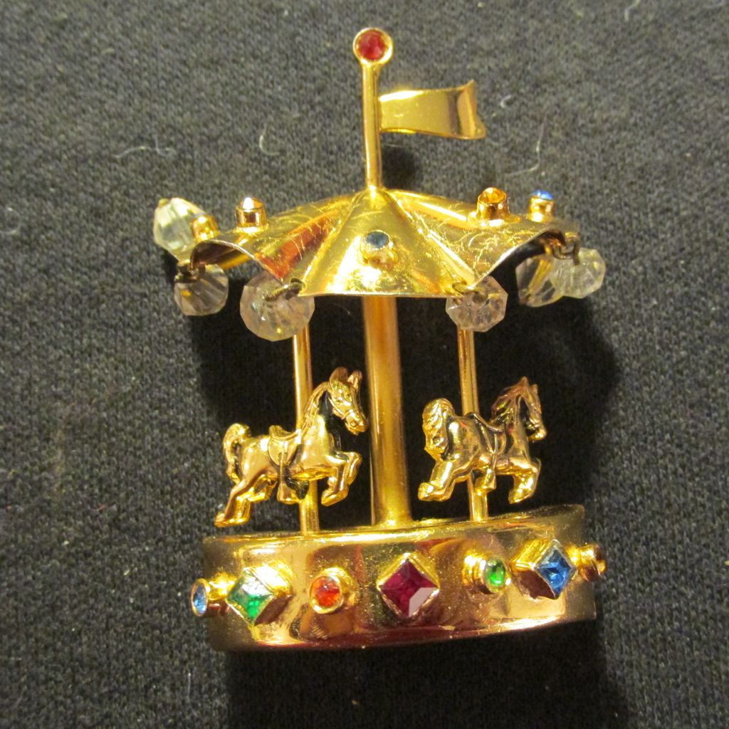 Coro Carousel Brooch Pin Multi Color and Clear Stones