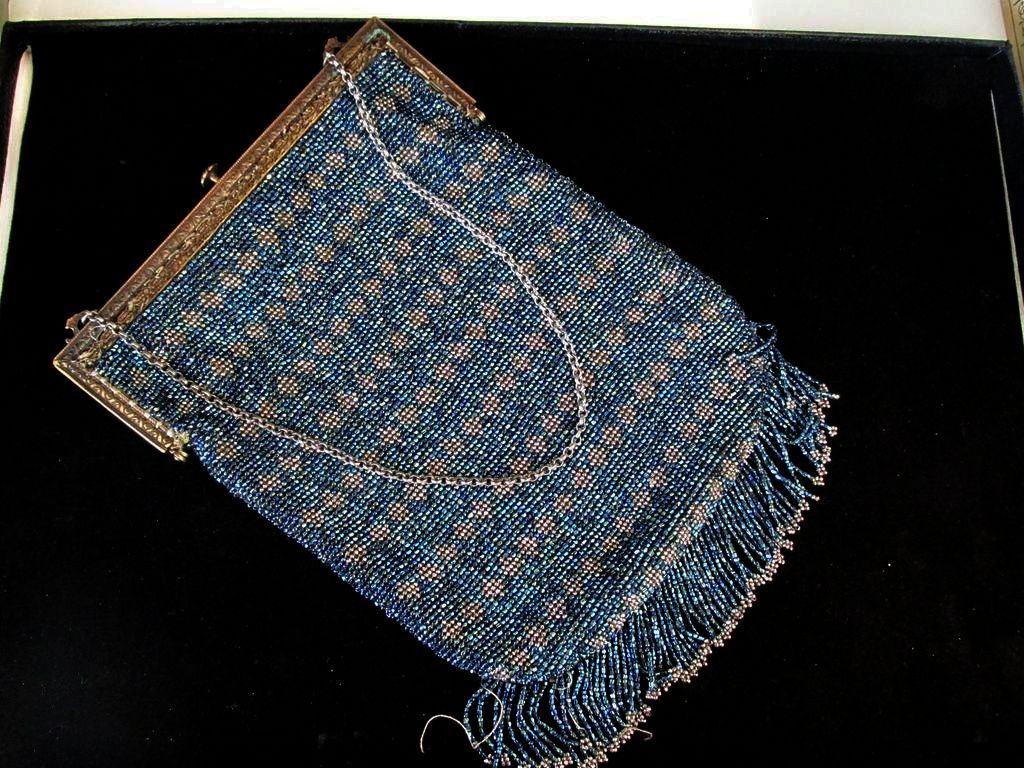 Steel Beaded Blue Silver Vintage Purse