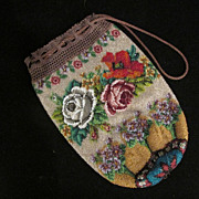 Antique Beaded 19th Century Floral Vintage Purse