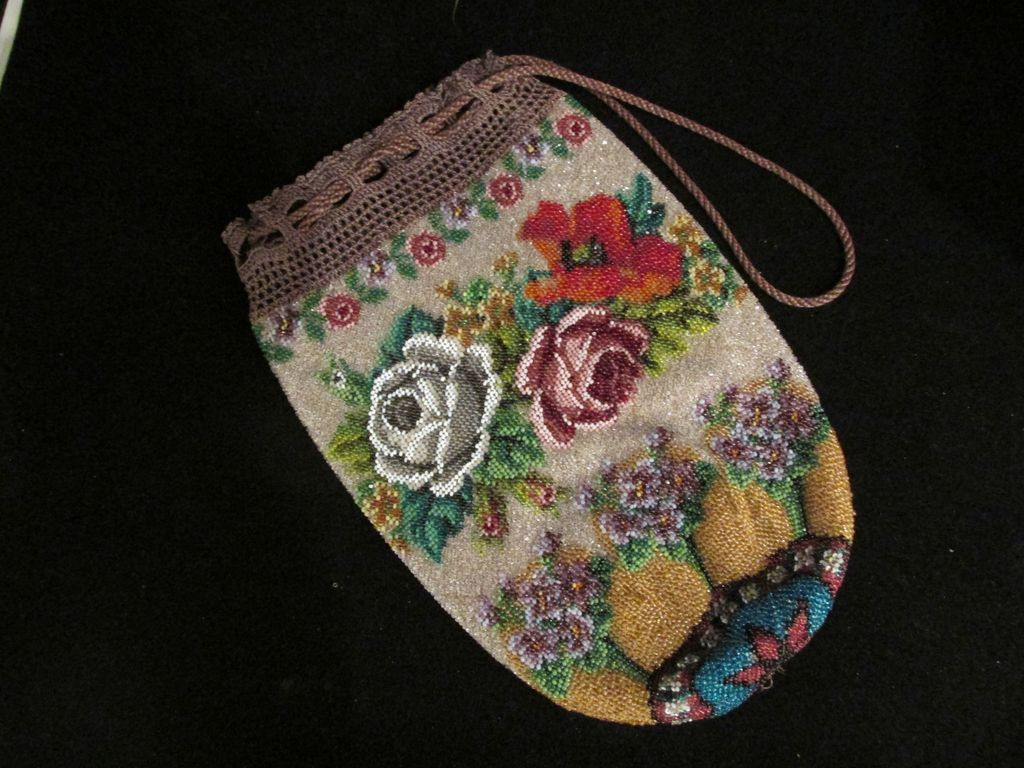 Antique Beaded 19th Century Floral Vintage Purse