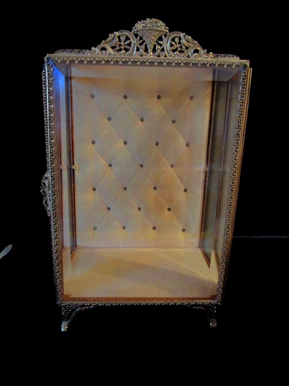 Vintage Beveled Glass Display Casket Jewelry or Doll Box