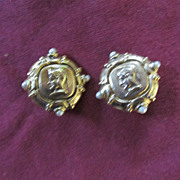 Roman Coin Earrings Enhanced with Faux Stones