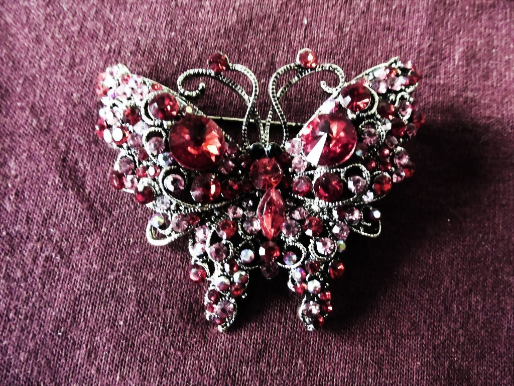 Fine Swarovski Crystal Butterfly Brooch Pin