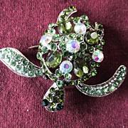 Swarovski Green Stone Turtle Brooch Pin