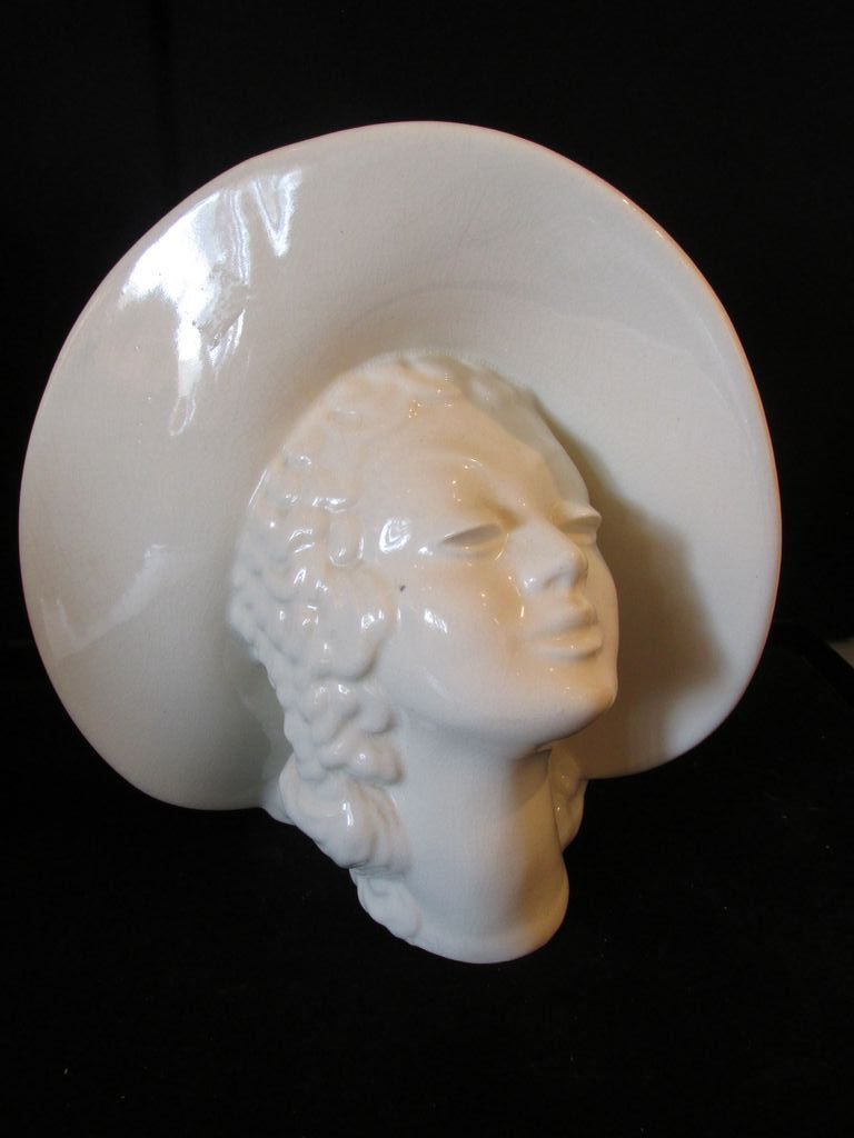 Vintage Deco Look Lady Head Vase with Large Hat