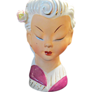 Vintage Lady Head Vase Asian