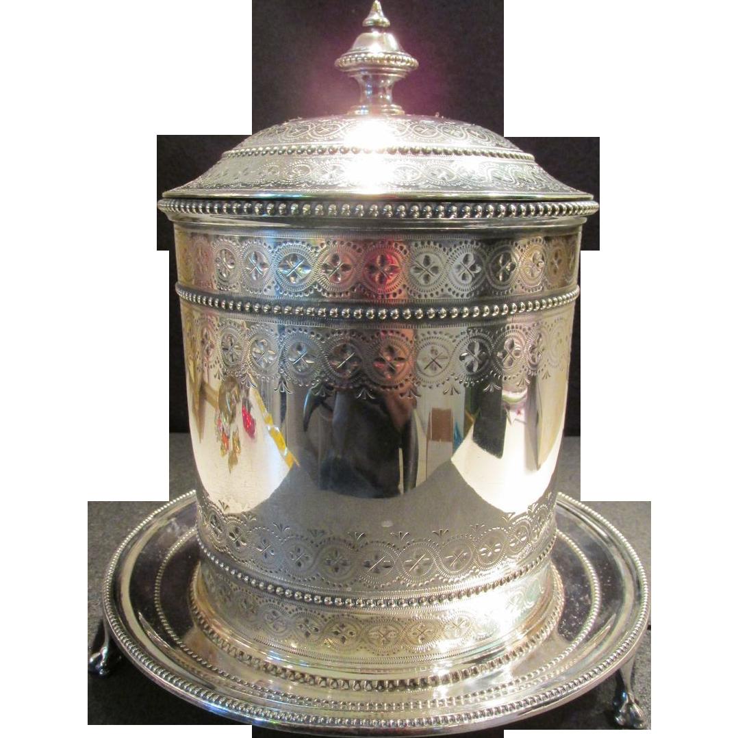 Decorative Antique Biscuit Box / Barrel Silver Plated