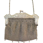 Vintage German Silver Ornate Frame Purse Handbag