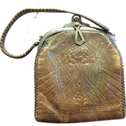 Turn Lock Purse Handbag Tooled Leather