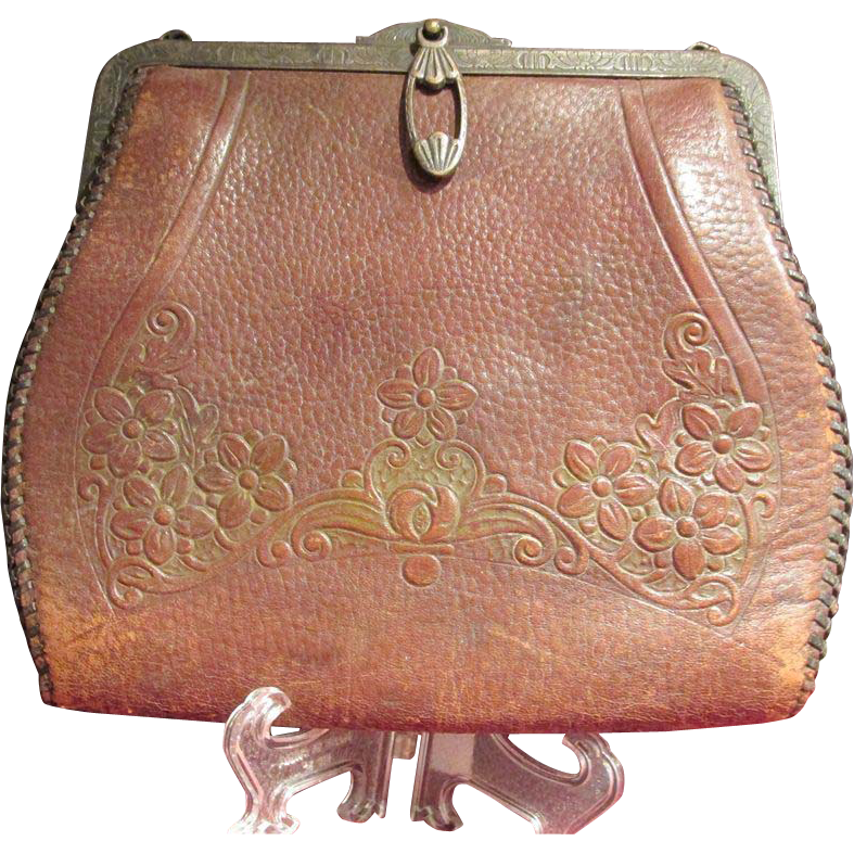 Genuine Steerhide Turn Lock Tooled Handbag Purse