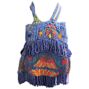 Fabulous Glass Beaded Drawstring Multi Color Handbag Purse