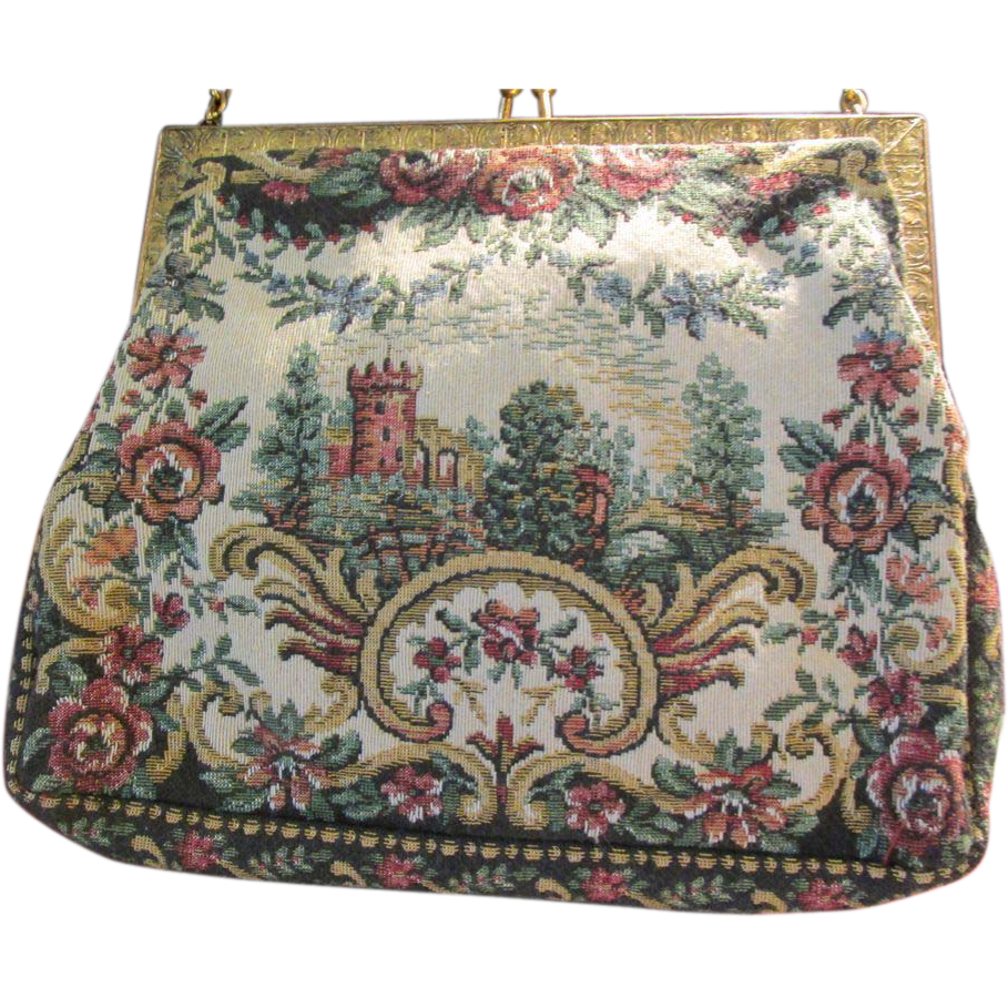 Scenic Castle Petit Point Vintage Handbag Purse France