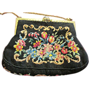 Vintage Petit Point Floral Handbag Purse Enamel on Frame