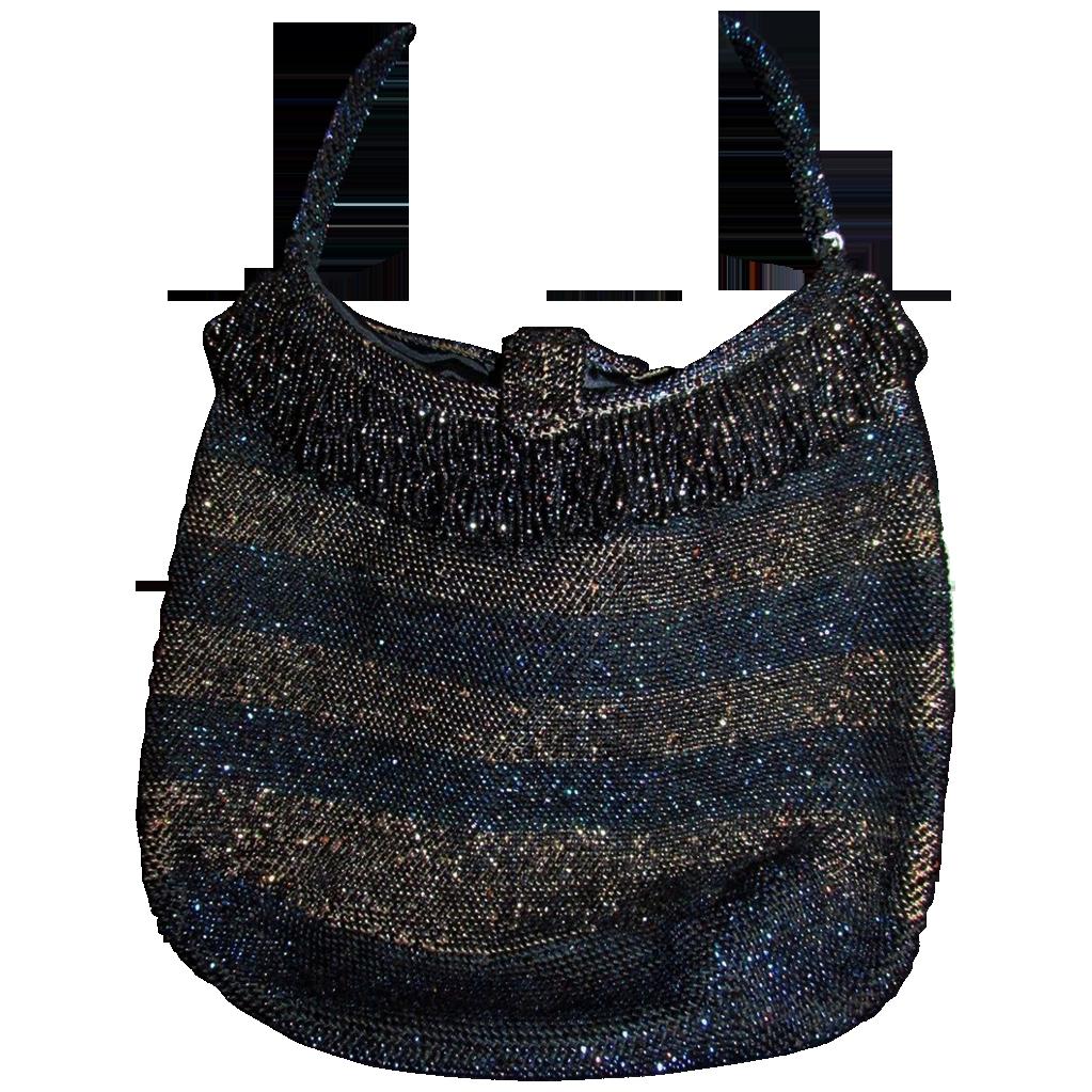 Vintage Beaded Iris Cut Handbag Purse Fringe