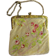 Vintage Glass Beaded Floral Handbag Purse Leather Lined