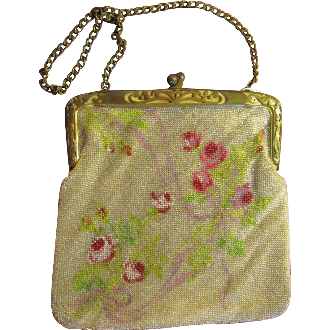 Floral Glass Beaded Handbag Purse Leather Lined