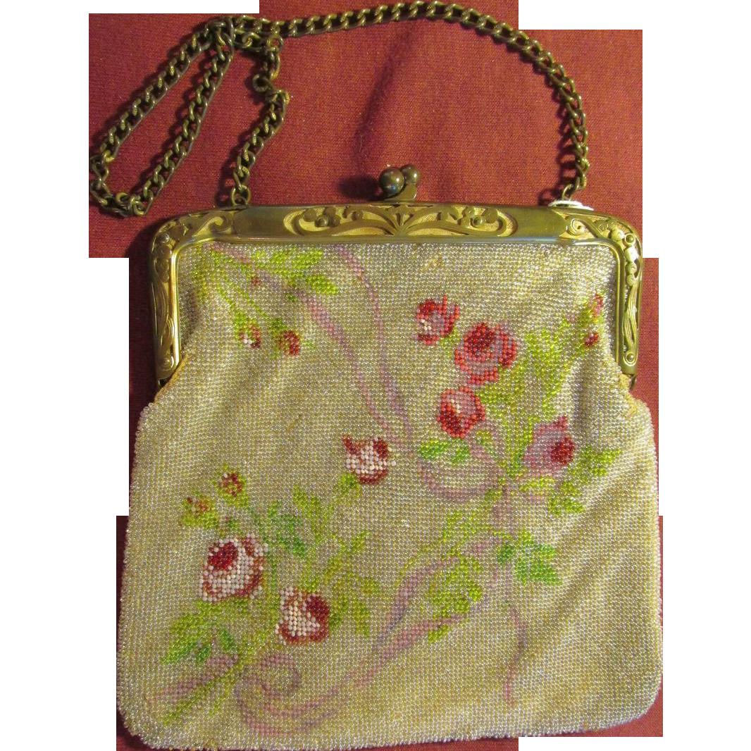Vintage Glass Beaded Floral Handbag Purse Leather Lined