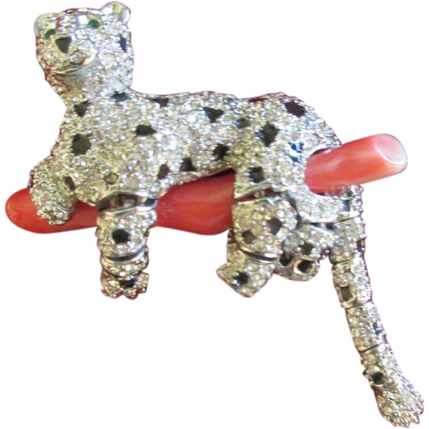 Swarovski Crystal Panther on Coral Brooch Pin