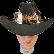 Vintage Cripple Creek Beaver Western Hat Ladies Black