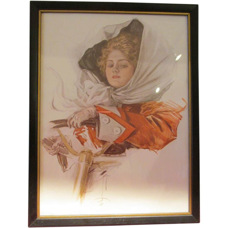 Harrison Fisher Print Framed A Fair Driver AP 130-9