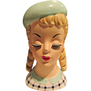 Vintage Fabulous Head Vase with Curls & Hat Long Eyelashes