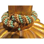 Incredible Vintage Wrap Bracelet with Turquoise, Faux Pearls and Stones Miriam Haskell