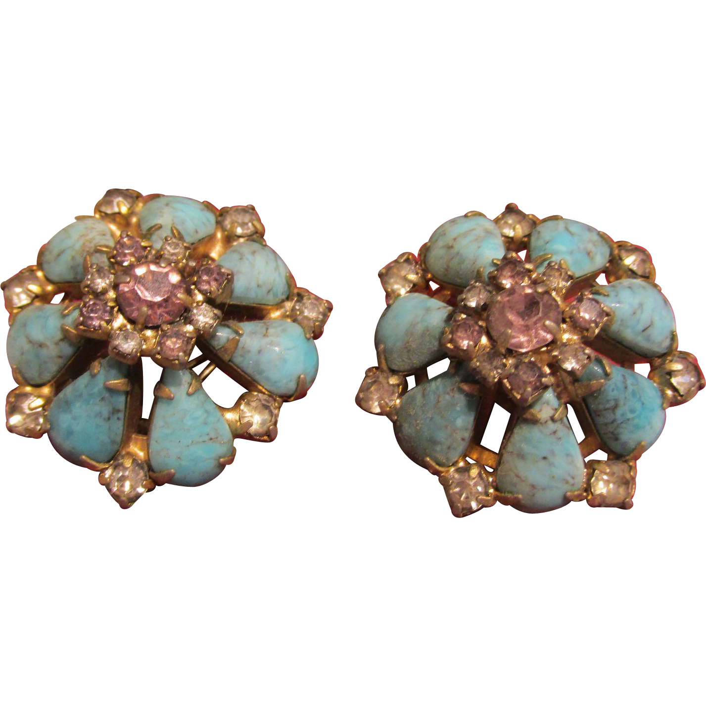 Hobe' Earrings Turquoise & Stones Clip Large and Fabulous