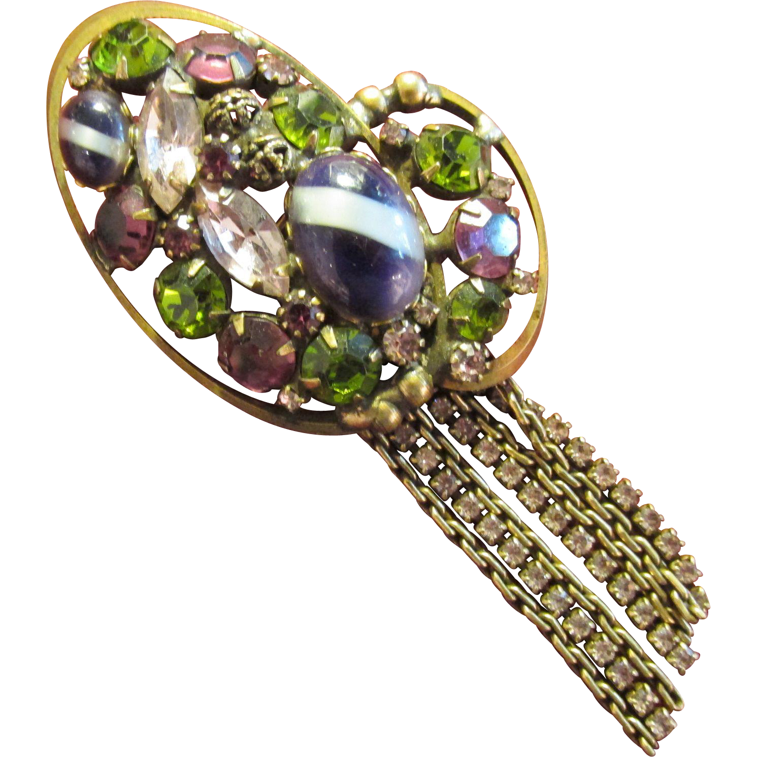 Fabulous Multi-Color Vintage Brooch Pin with Dangling Rhinestones